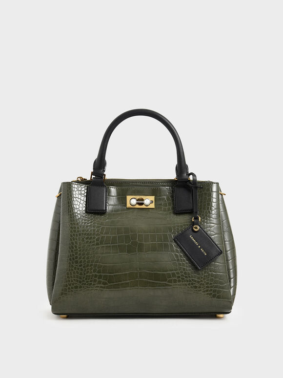 Croc-Effect Large Structured Bag, Olive, hi-res