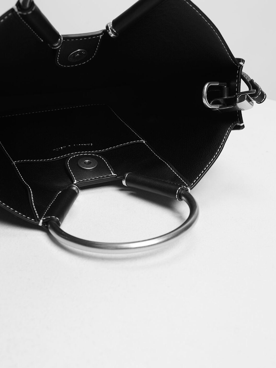 U Shape Top Handle Bag, Black, hi-res