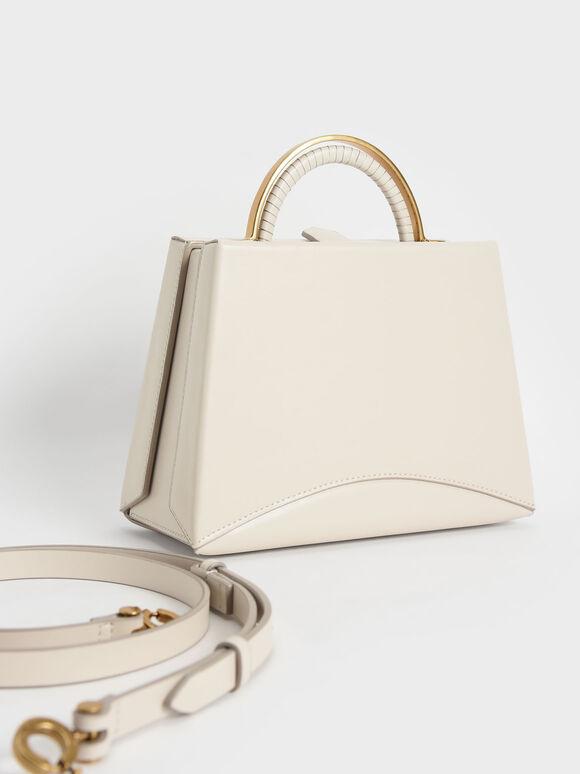 Metallic Top Handle Trapeze Bag, Cream, hi-res