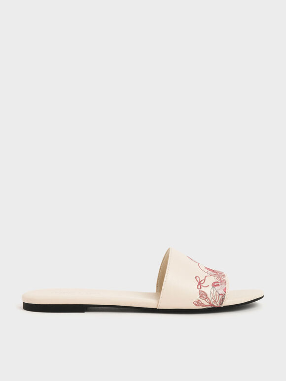Embroidered Slide Sandals, Cream, hi-res