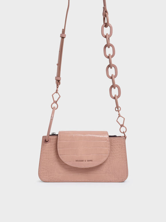 Croc-Effect Ring Handle Mini Front Flap Wallet, Pink, hi-res