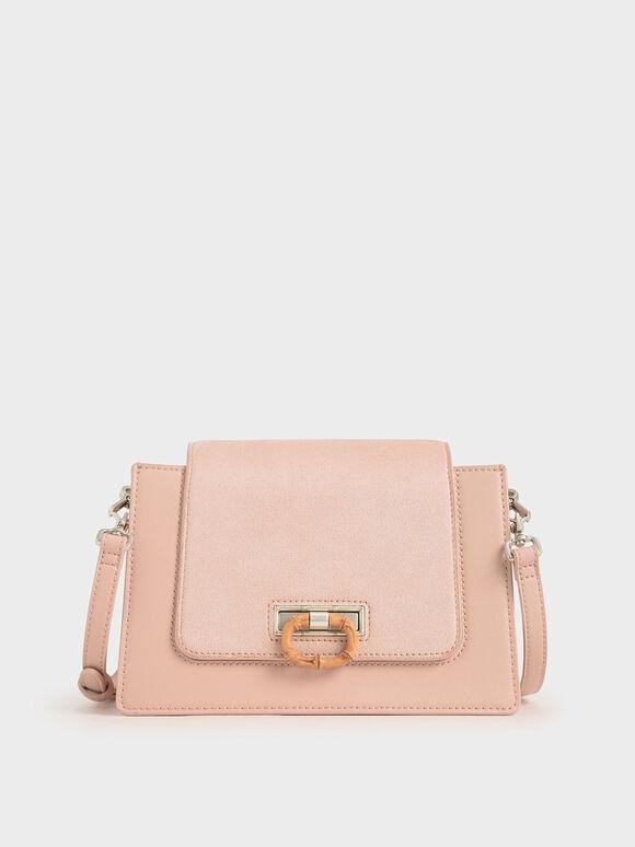 竹紋拉環斜背包, 粉紅色, hi-res