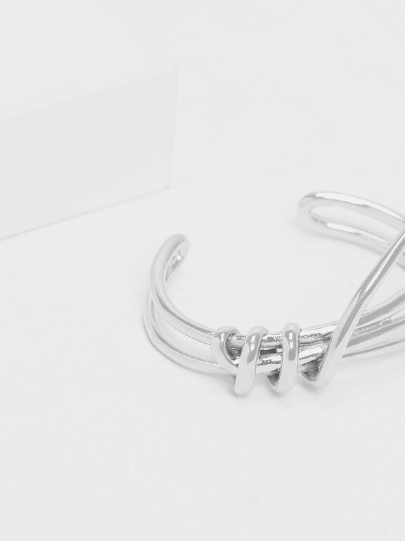 Knotted Design Cuff Bangle, Silver