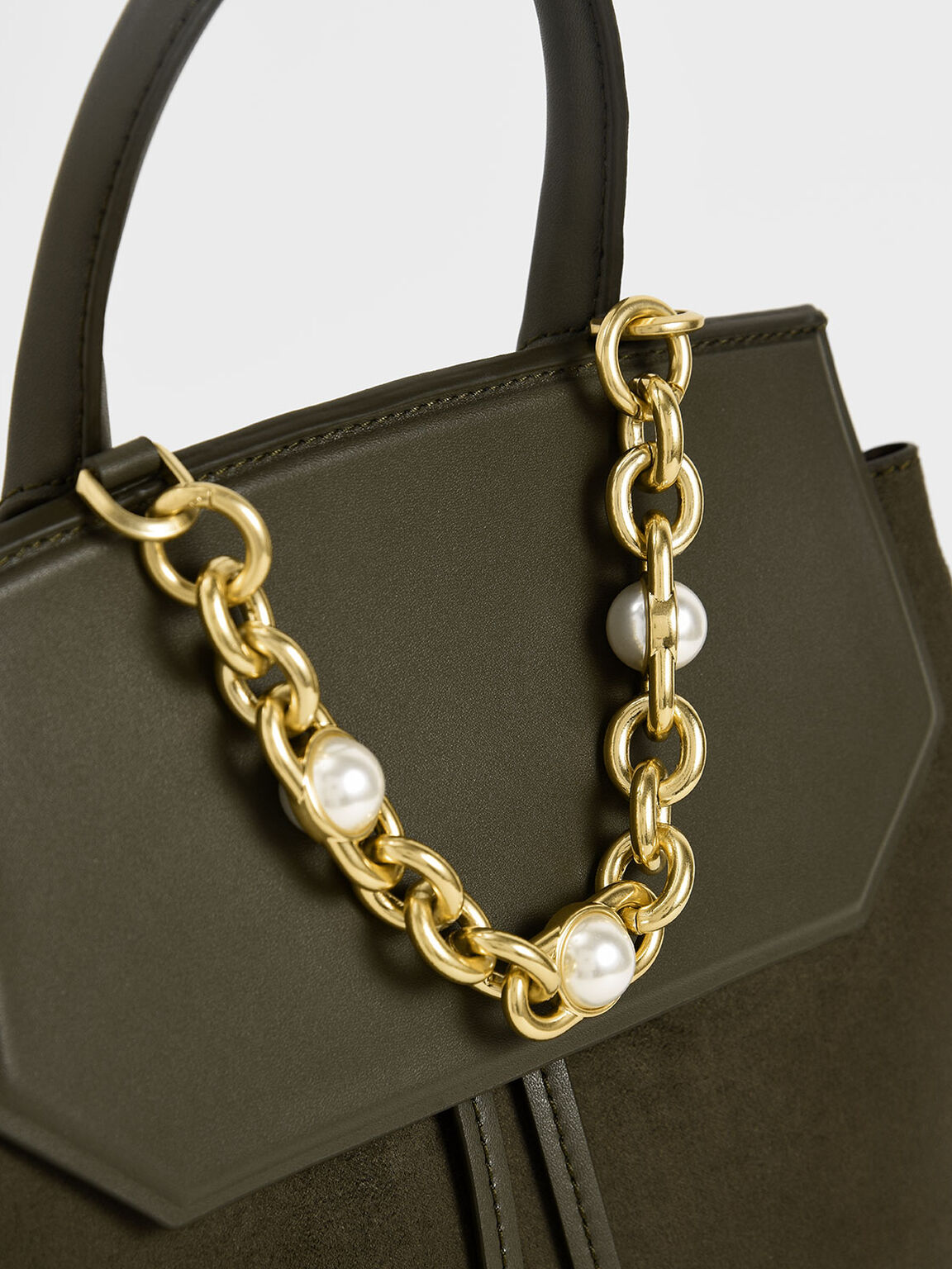 Textured Chain-Link Backpack, Military Green, hi-res