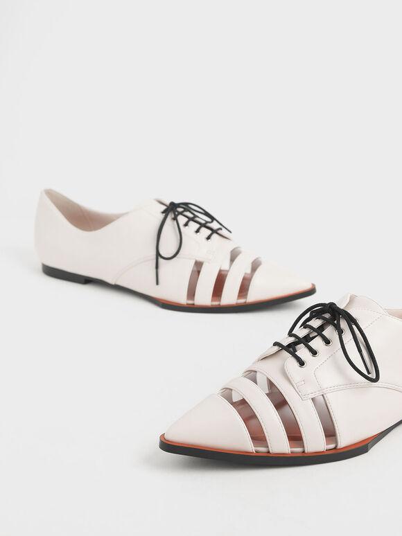 See-Through Oxford Shoes, Cream, hi-res