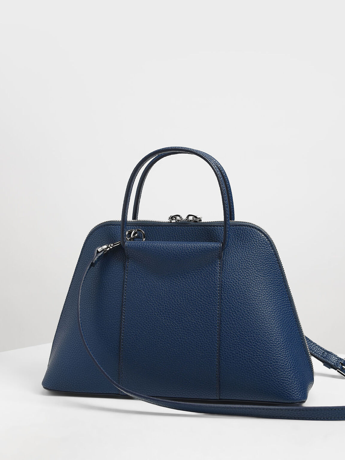 Ring Handle Dome Bag, Dark Blue, hi-res
