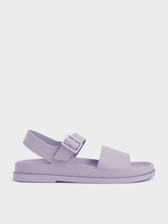 Buckle Strap Flatform Sandals, Lilac, hi-res