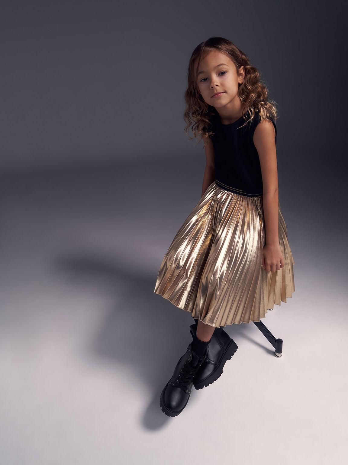 兒童綁帶鉚釘踝靴, 黑色, hi-res