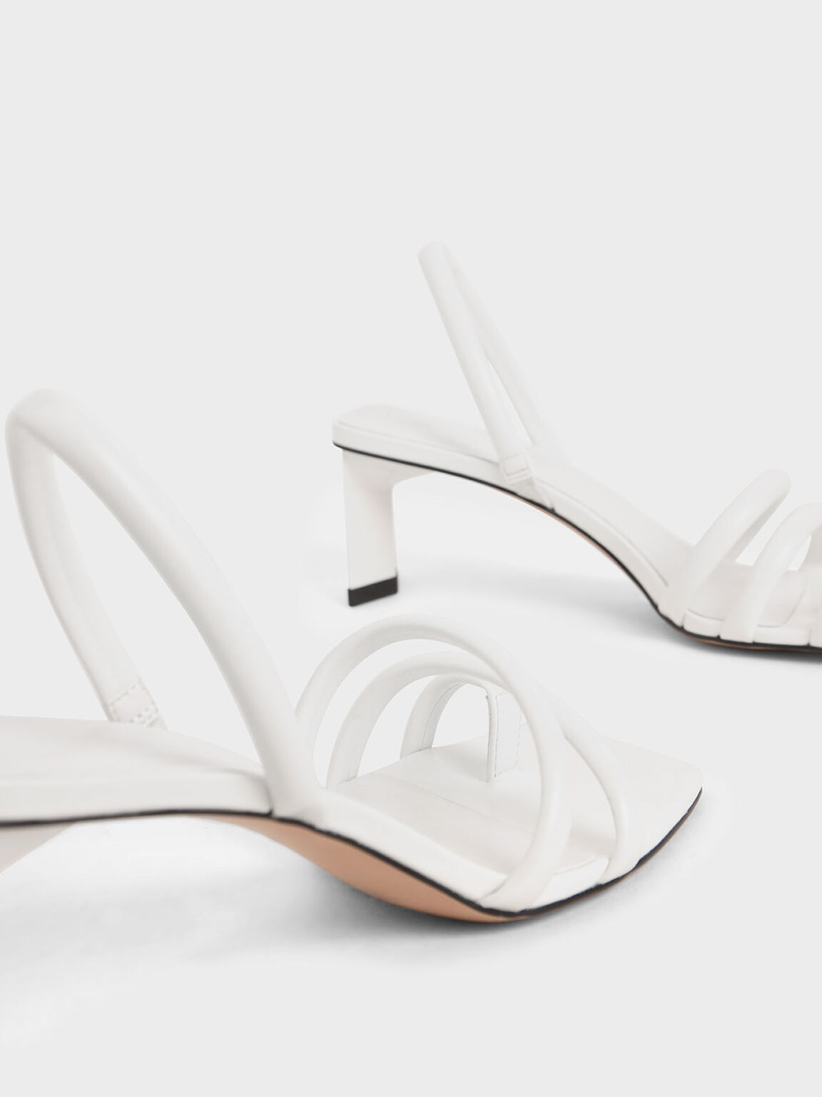 Toe Loop Strappy Slingback Heels, White, hi-res