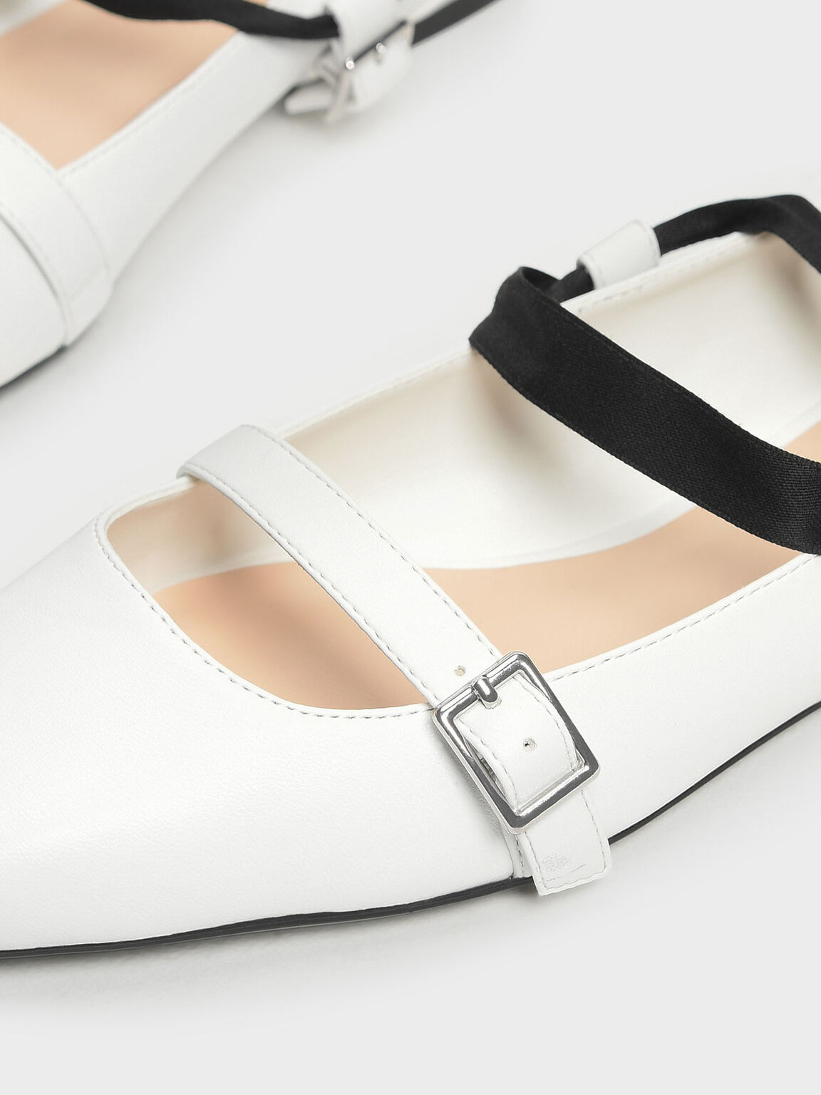 Ribbon Tie Ballerinas, White, hi-res