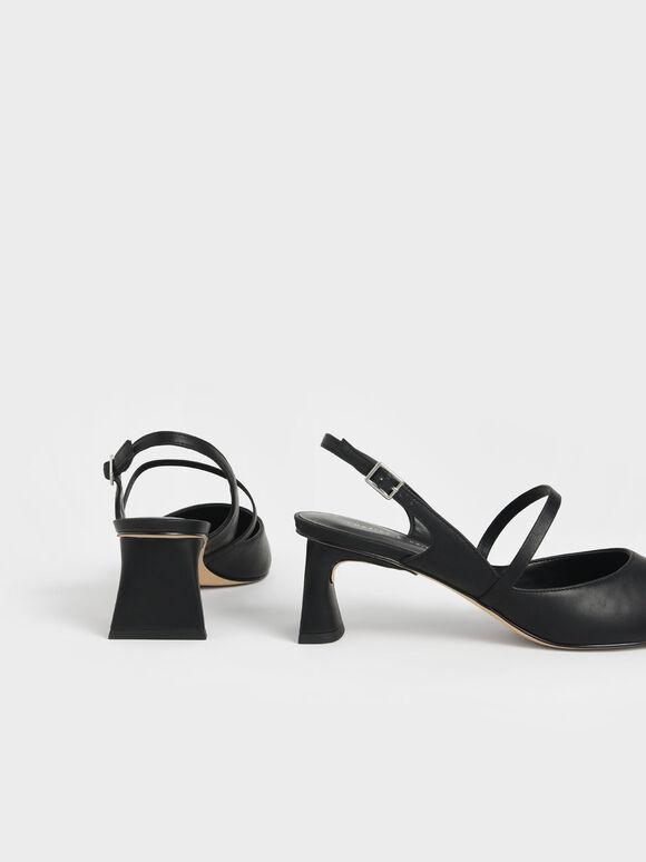 Sculptural Heel Slingback Mary Janes, Black, hi-res