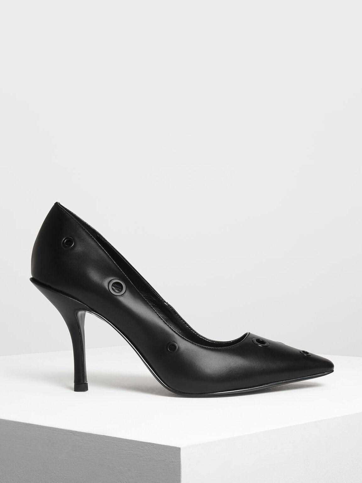 Eyelet Detail Court Shoes, Black, hi-res