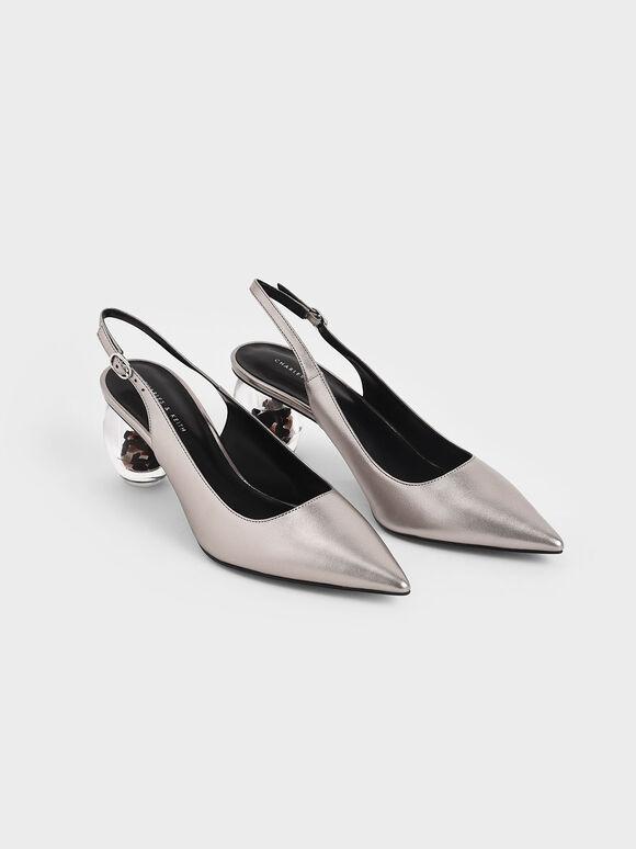 Metallic Sculptural Heel Slingback Court Shoes, Pewter, hi-res