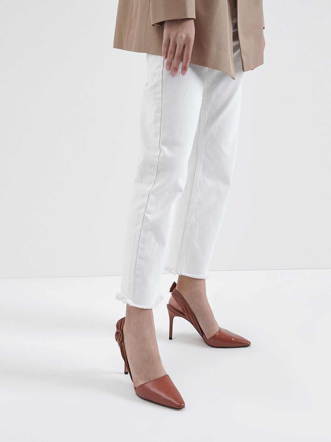Buckle Detail Ruched Slingback Pumps, Brick, hi-res