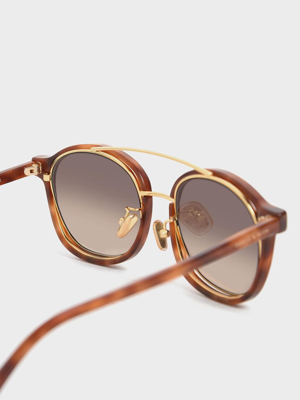 Tortoiseshell Gradient Tint Round Sunglasses, T. Shell, hi-res