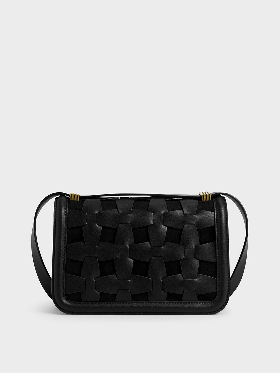 Weave Detail Shoulder Bag, Black, hi-res