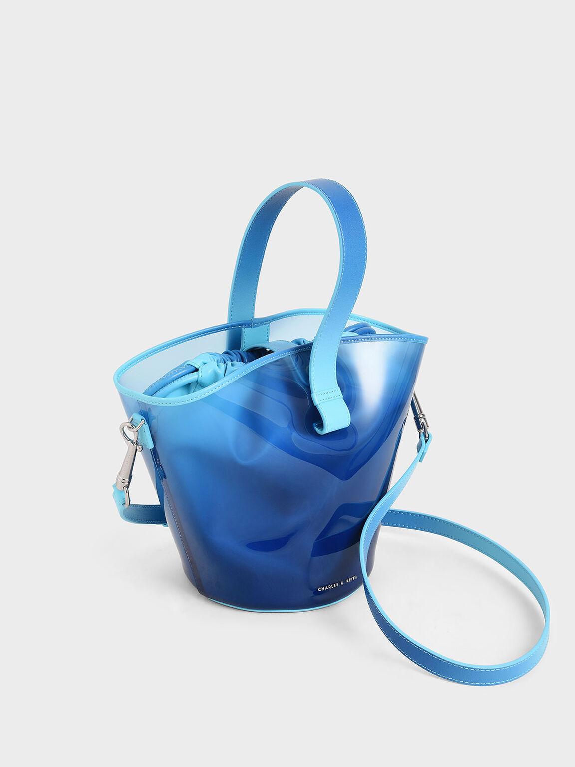 See-Through Effect Bucket Bag, Blue, hi-res