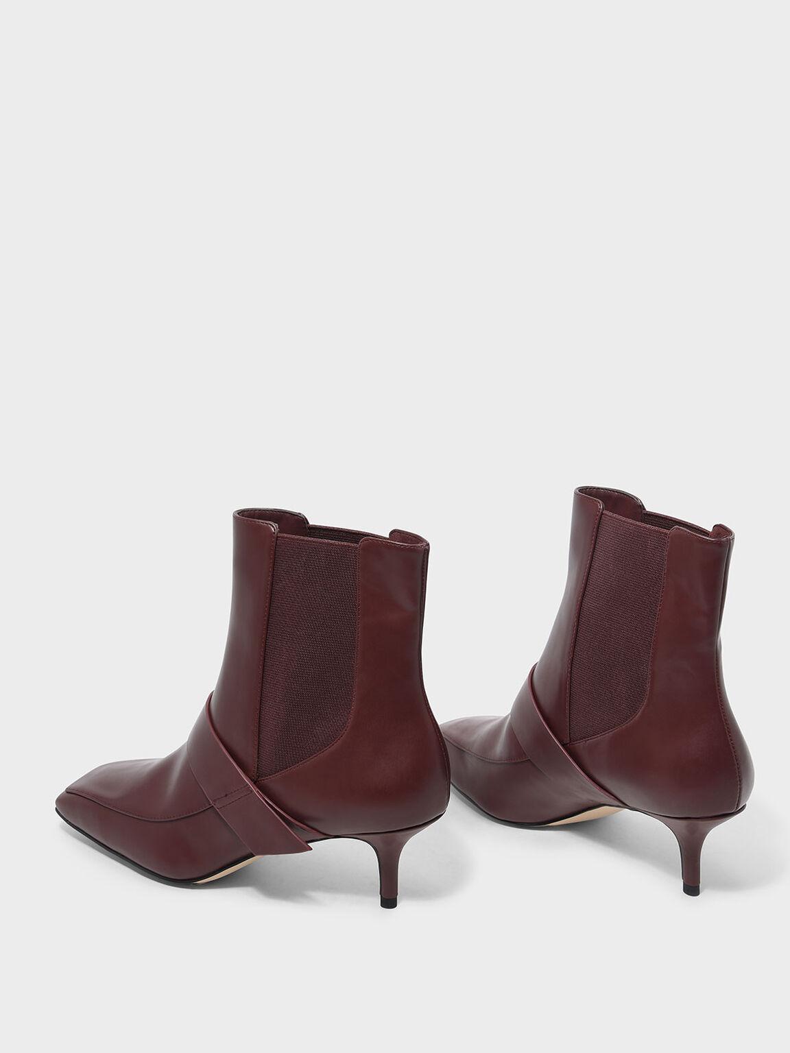 Square Toe Kitten Heel Boots, Burgundy, hi-res