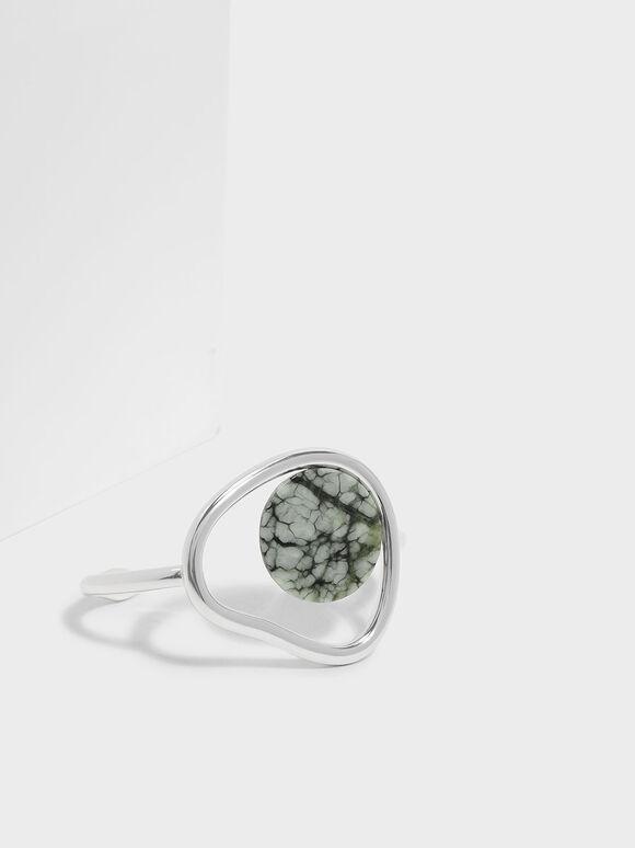 Semi-Precious Stone Cuff Bangle, Grey, hi-res