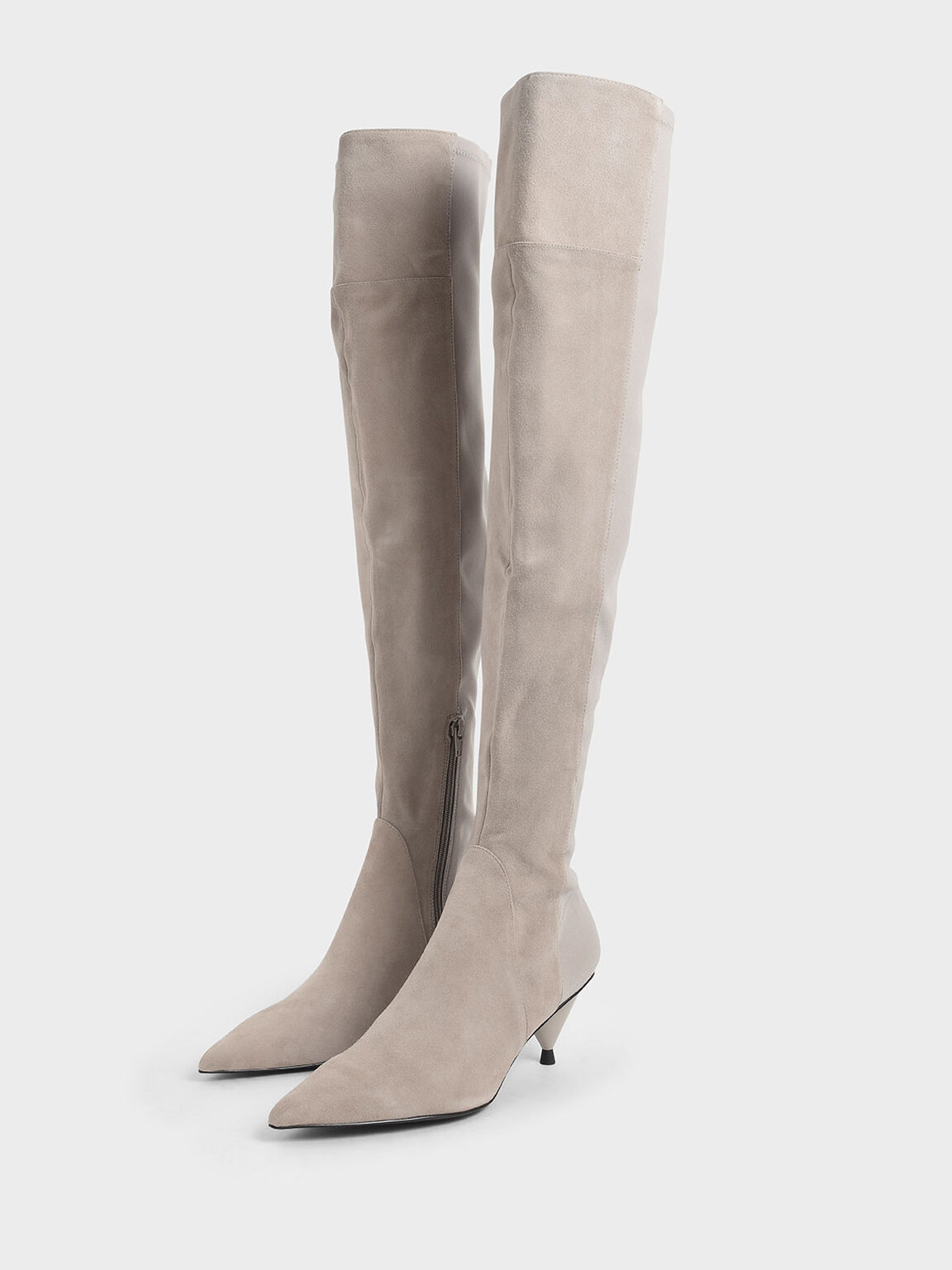 Kid Suede Thigh High Boots, Grey, hi-res