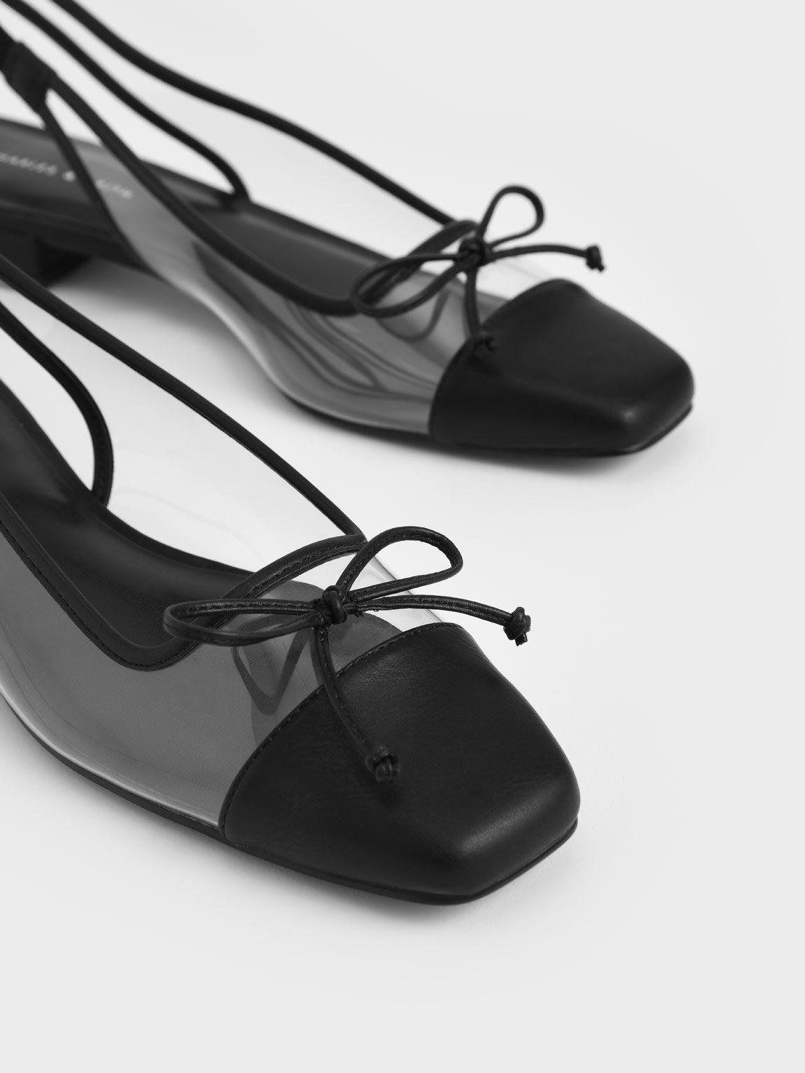 See-Through Bow Slingback Ballerinas, Black Textured, hi-res