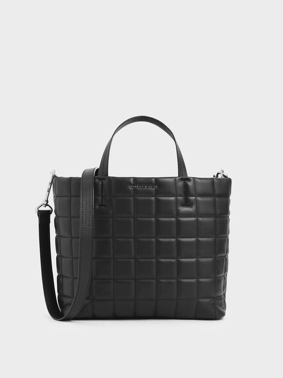 Quilted Short Strap Tote Bag, Black, hi-res