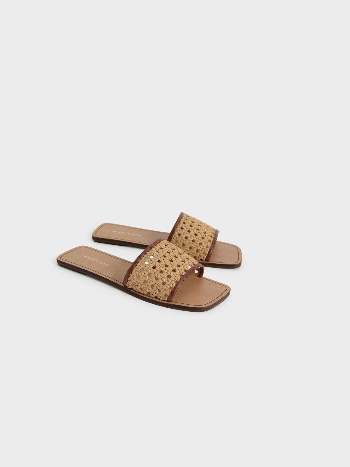 Woven Slide Sandals, Brown, hi-res