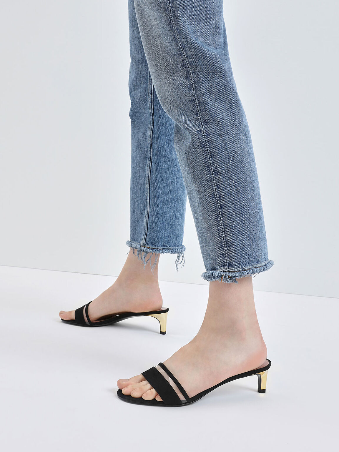 Clear Strap Kitten Heel Slide Sandals, Black, hi-res