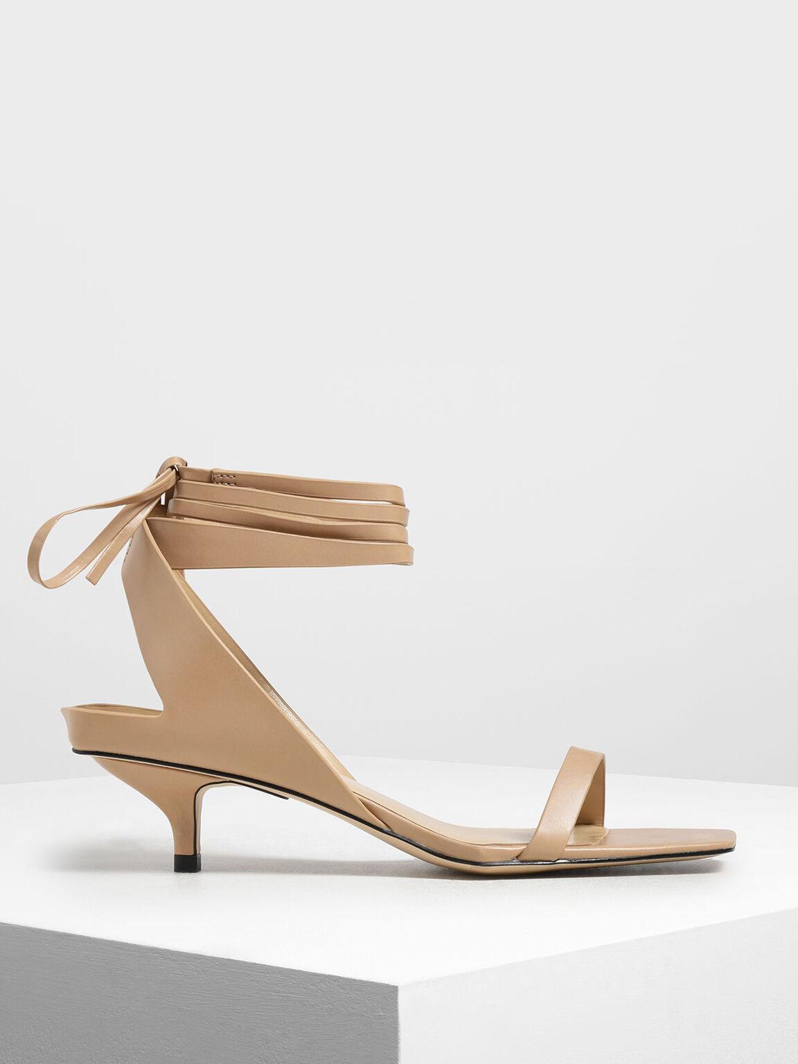 Ankle Tie Square Toe Sandals, Nude, hi-res