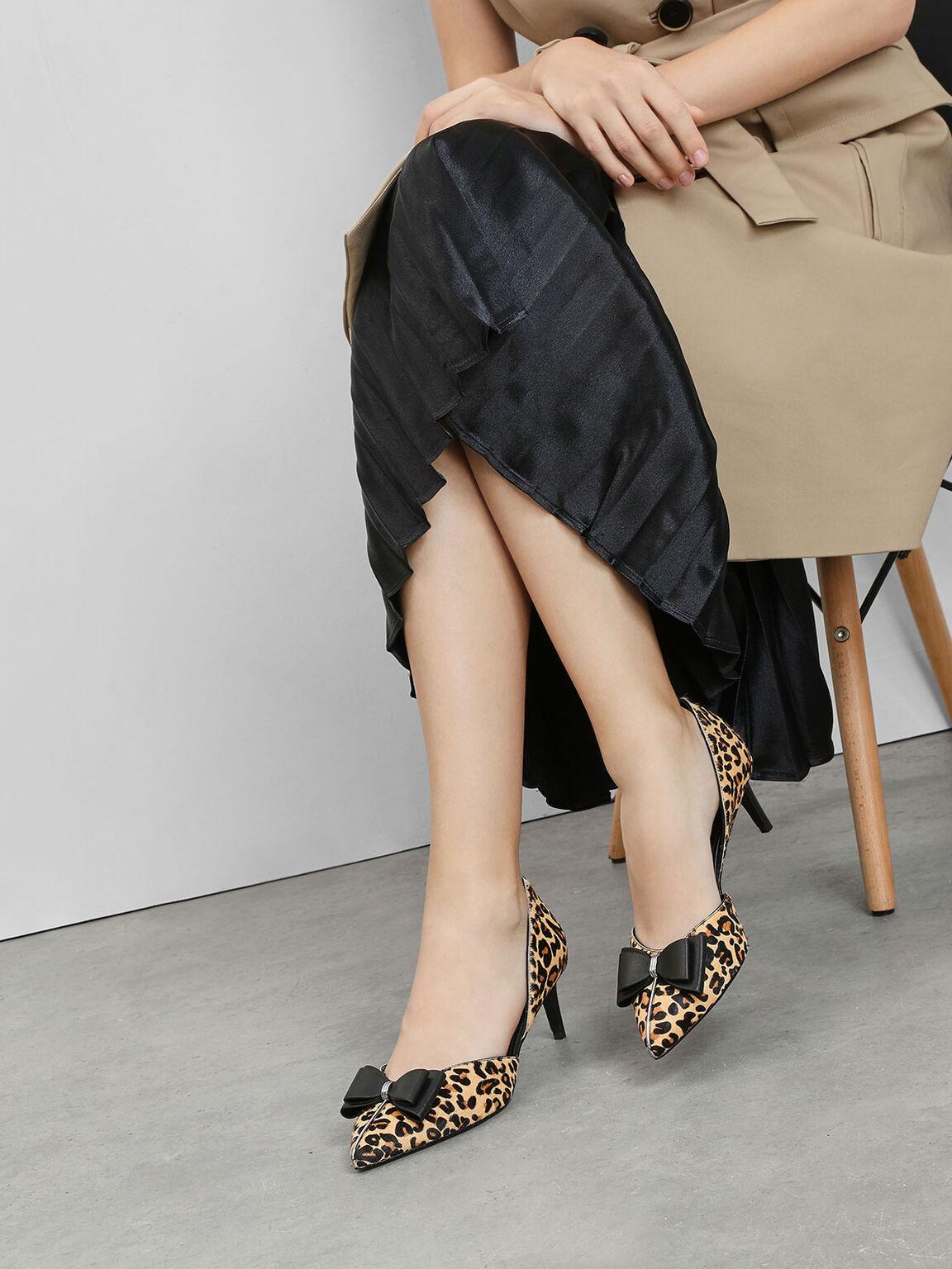 Pony Hair Leopard Print Pumps, Multi, hi-res