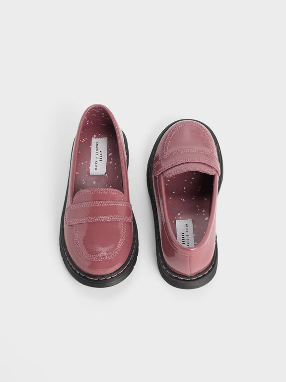 Girls' Overlock Stitch Patent Loafers, Pink