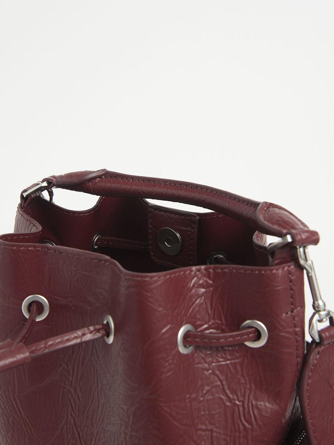 Wrinkled Effect Drawstring Bucket Bag, Burgundy, hi-res