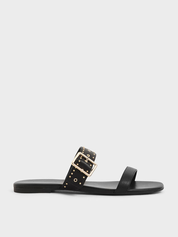 Studded Slide Sandals, Black, hi-res