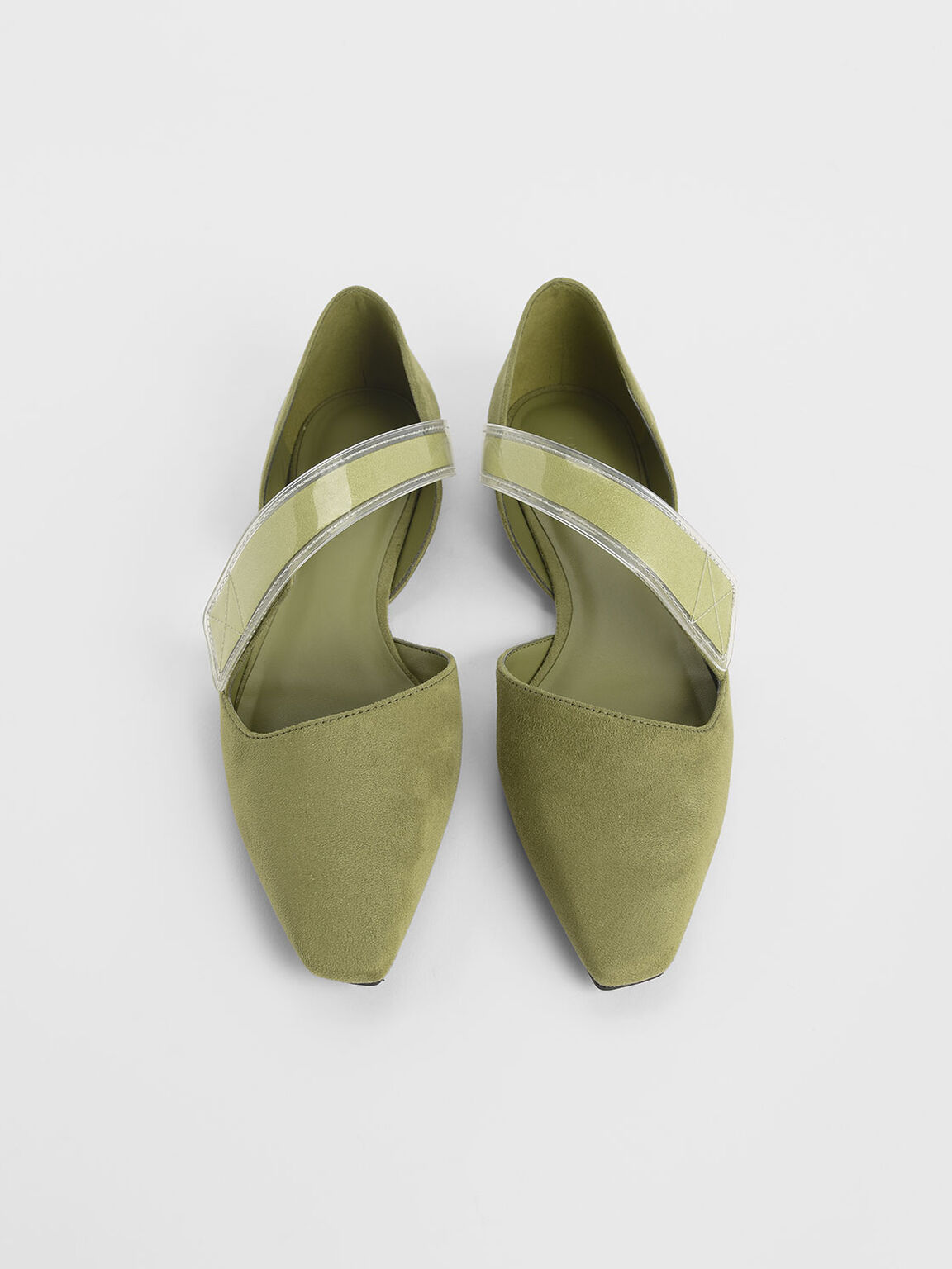 Asymmetric See-Through Strap Mary Jane Flats, Olive, hi-res
