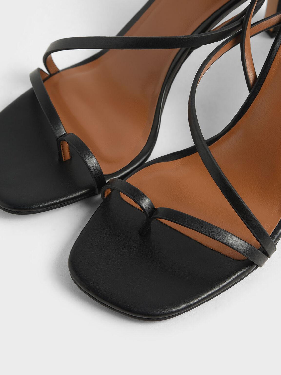 Asymmetric Strap Open Toe Sandals, Black, hi-res