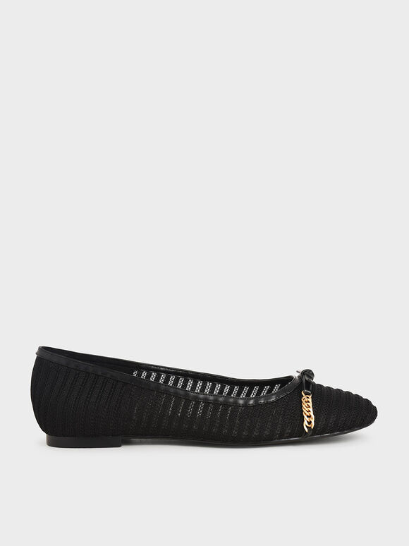 Textured Mesh Chain-Link Ballerina Flats, Black Textured, hi-res