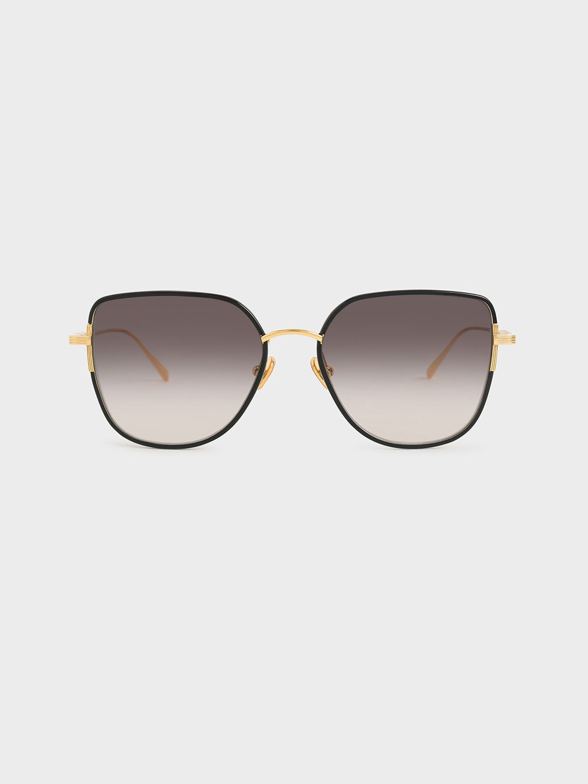 Cut-Out Frame Butterfly Sunglasses, Black, hi-res