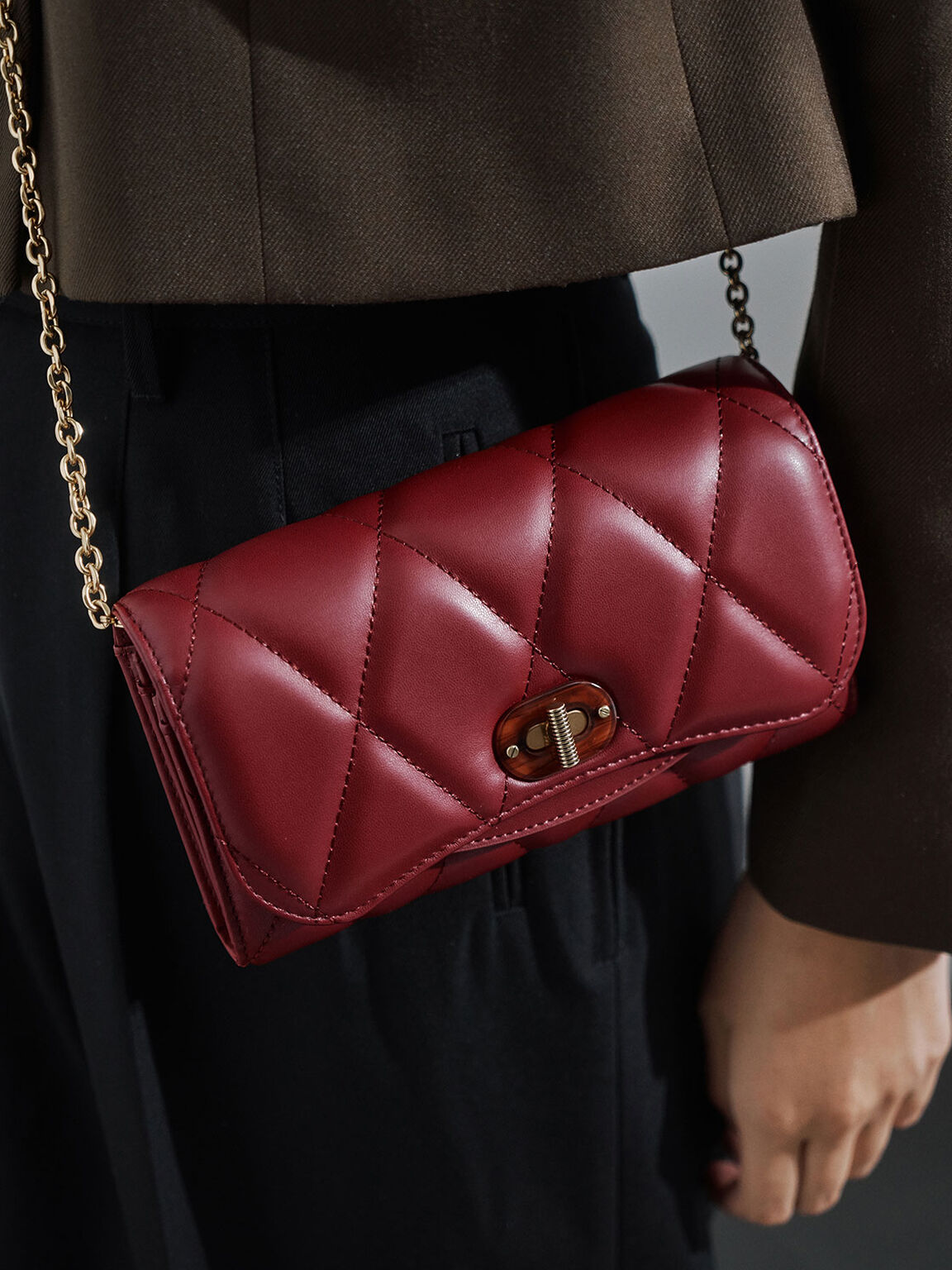Quilted Turn-Lock Wallet, Red, hi-res