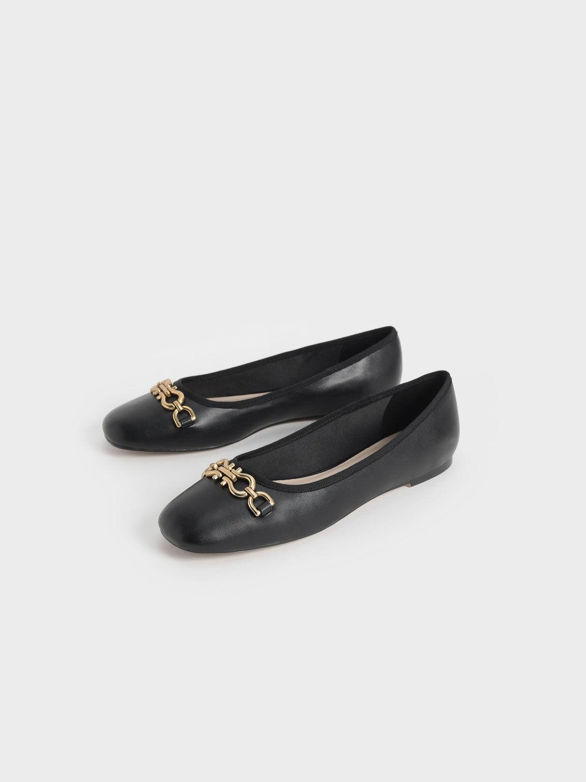 Chain Link Ballerina Flats, Black, hi-res
