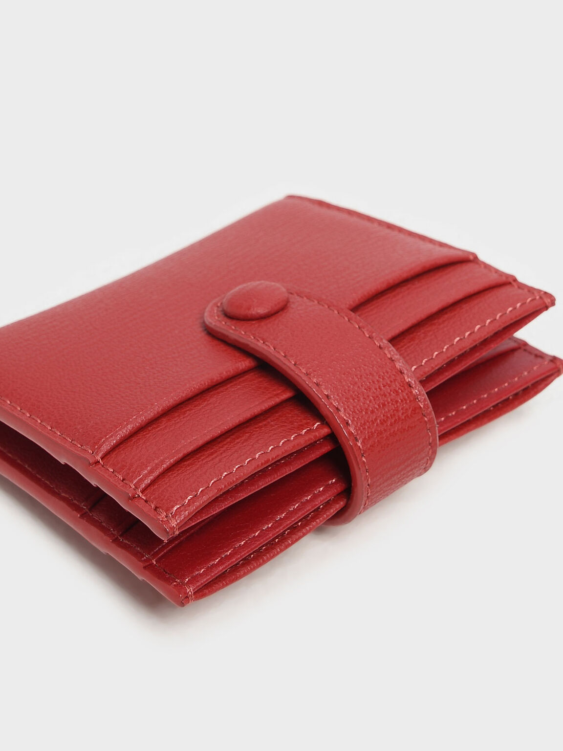 Snap Button Card Holder, Red, hi-res