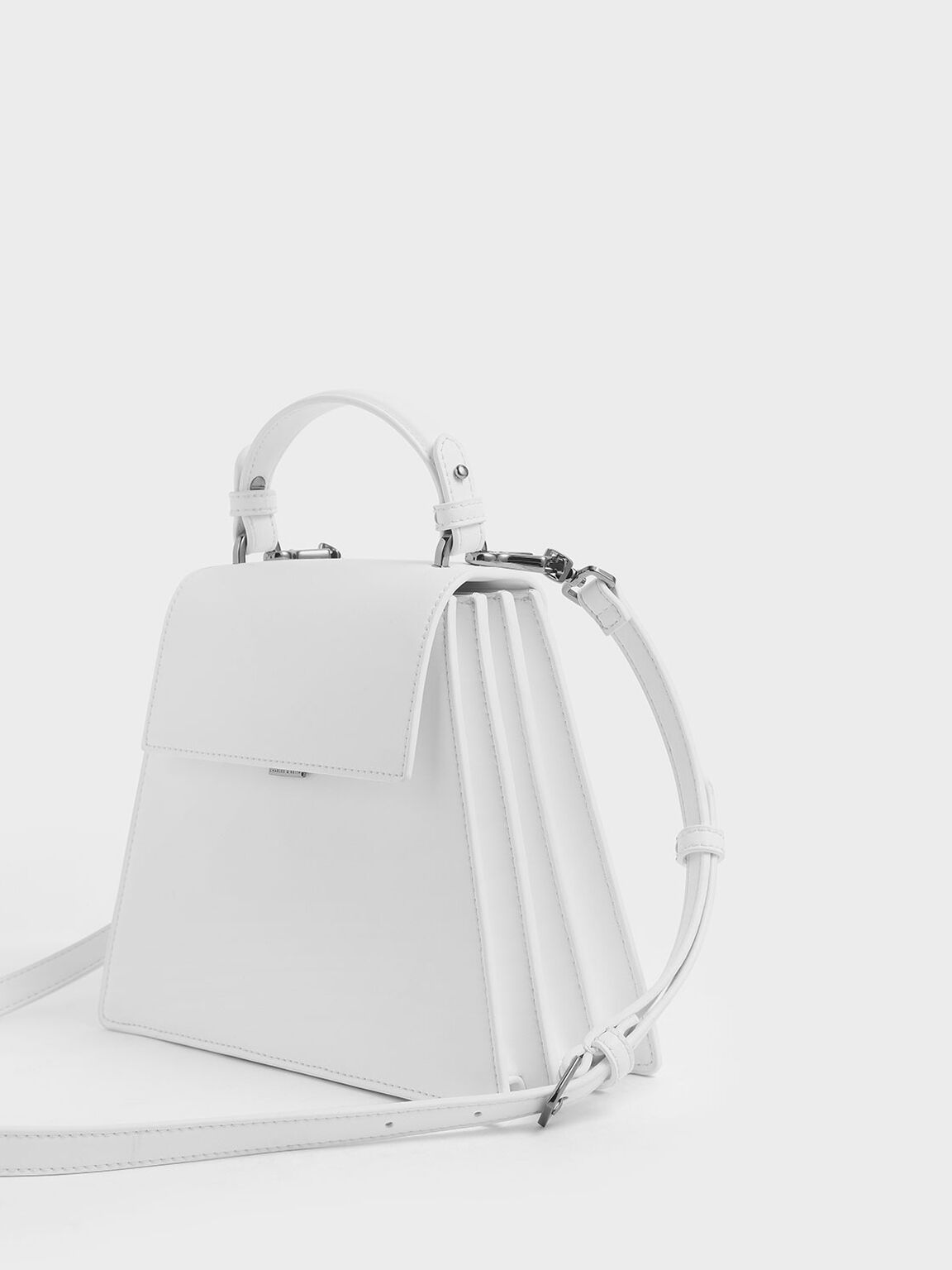 Angular Top Handle Bag, White, hi-res