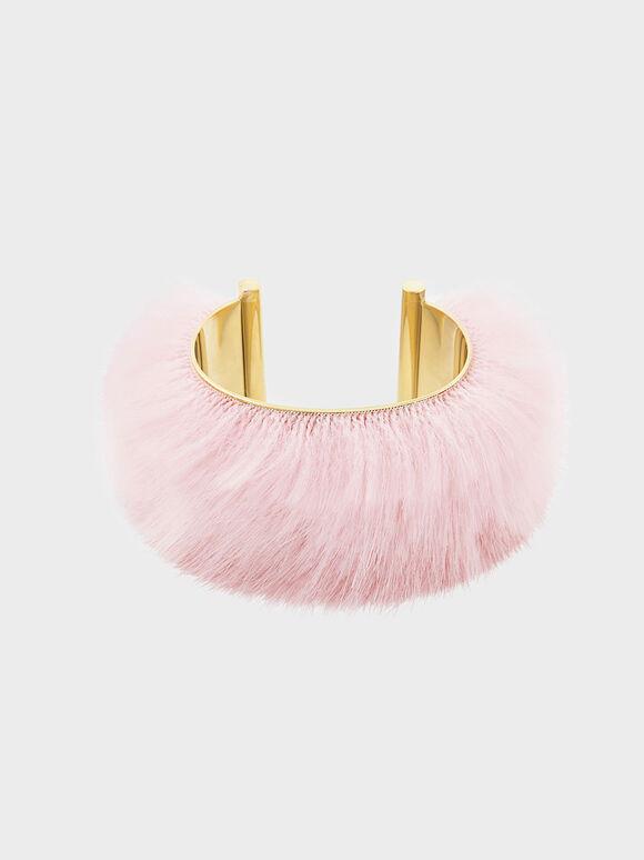 Furry Cuff, Pink, hi-res