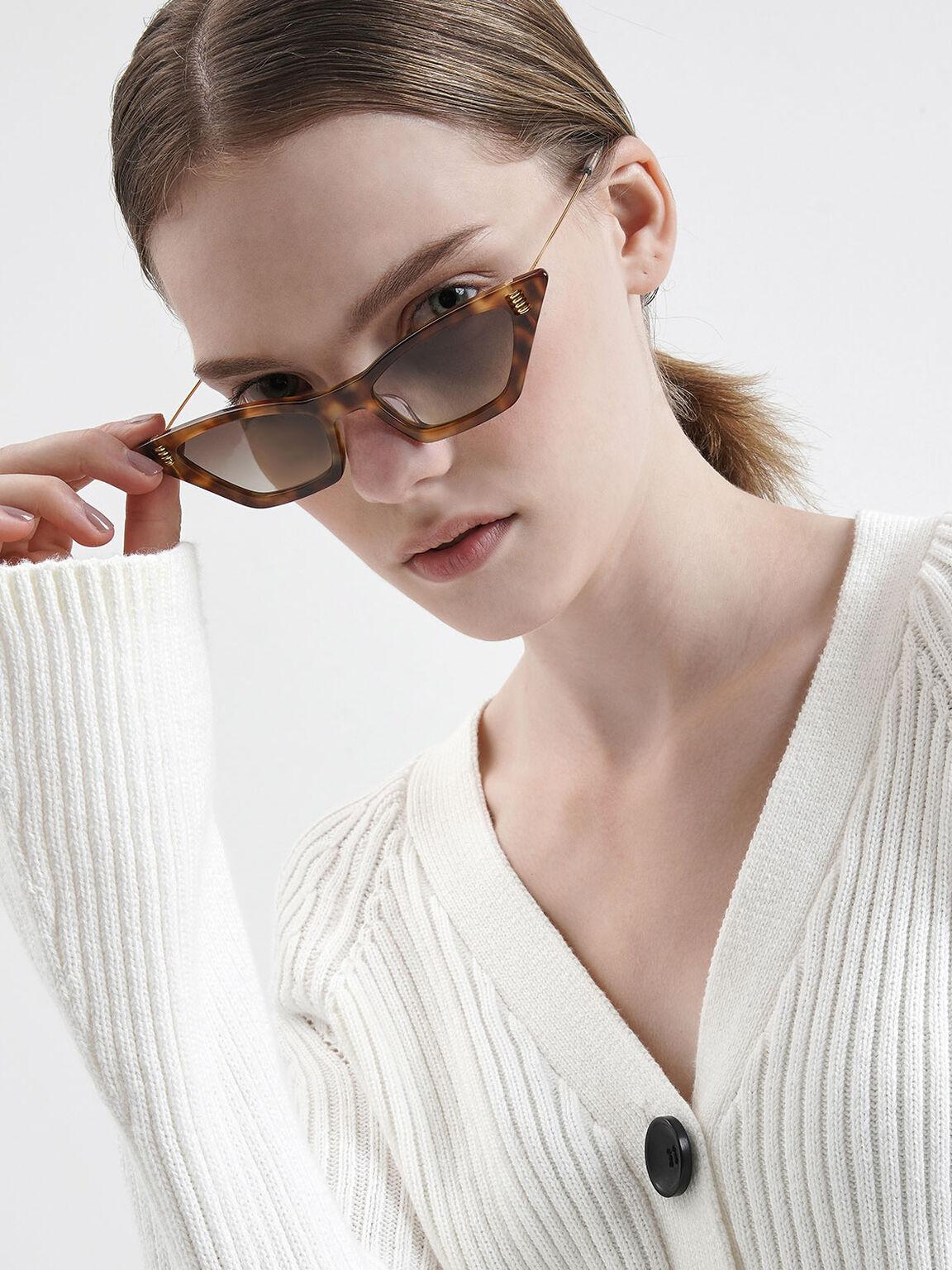 Thick Frame Tortoiseshell Cat-Eye Sunglasses, T. Shell, hi-res