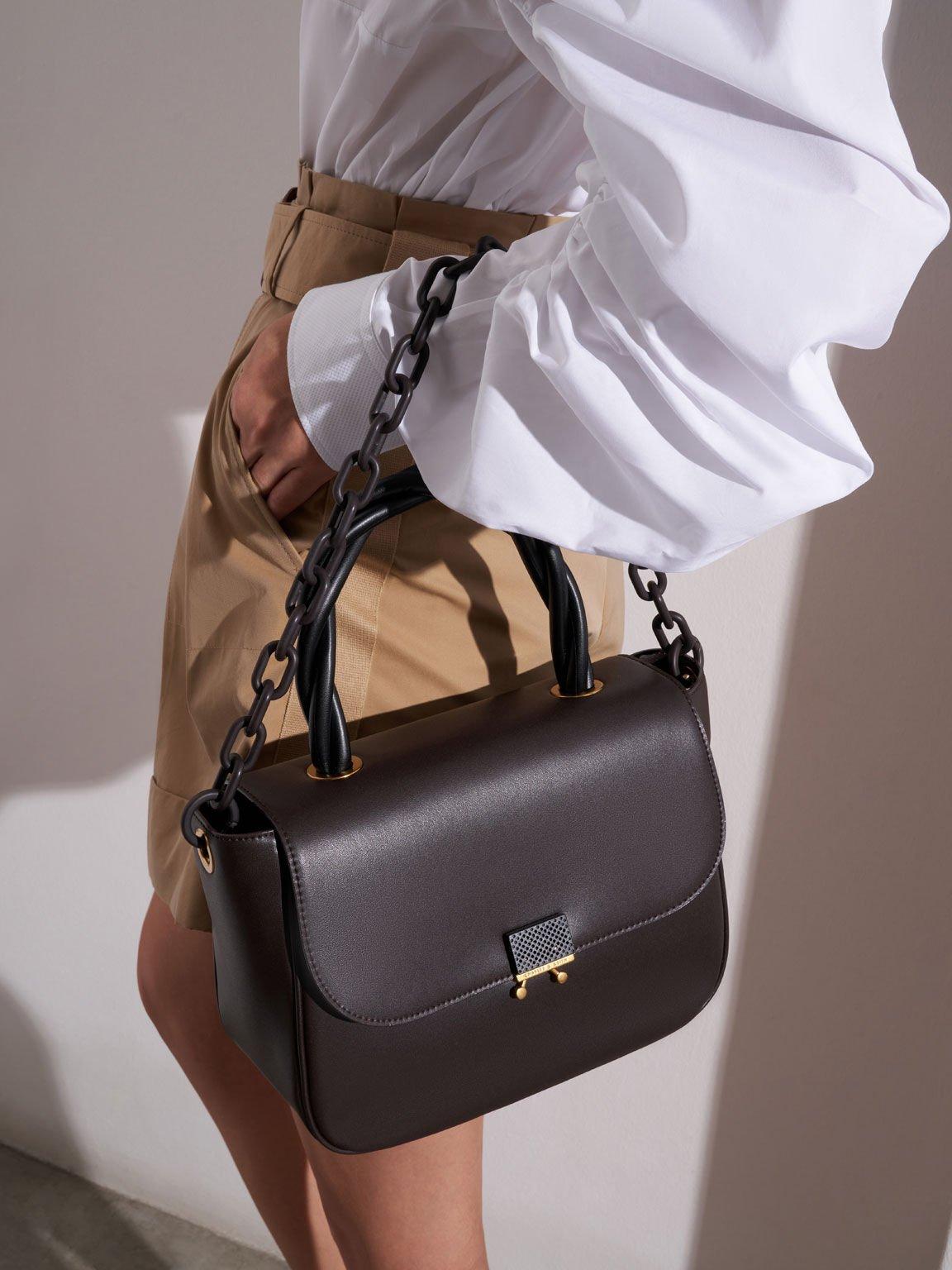 Twist Top Handle Bag, Dark Oak, hi-res