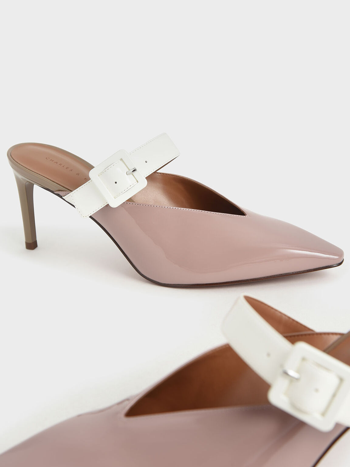 Patent Mary Jane Strap Stiletto Mules, Mauve, hi-res