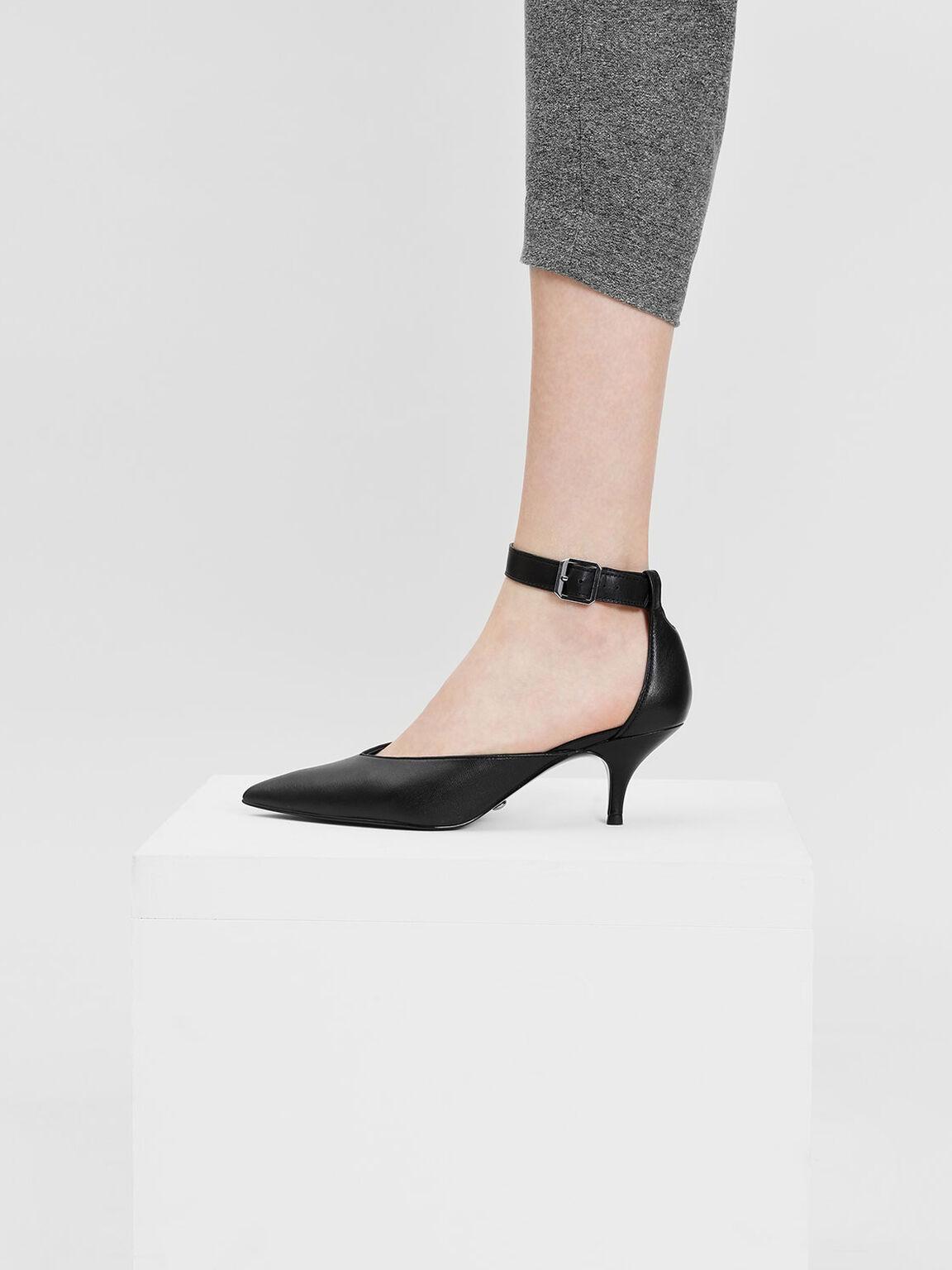 Ankle Strap Leather Heels, Black, hi-res