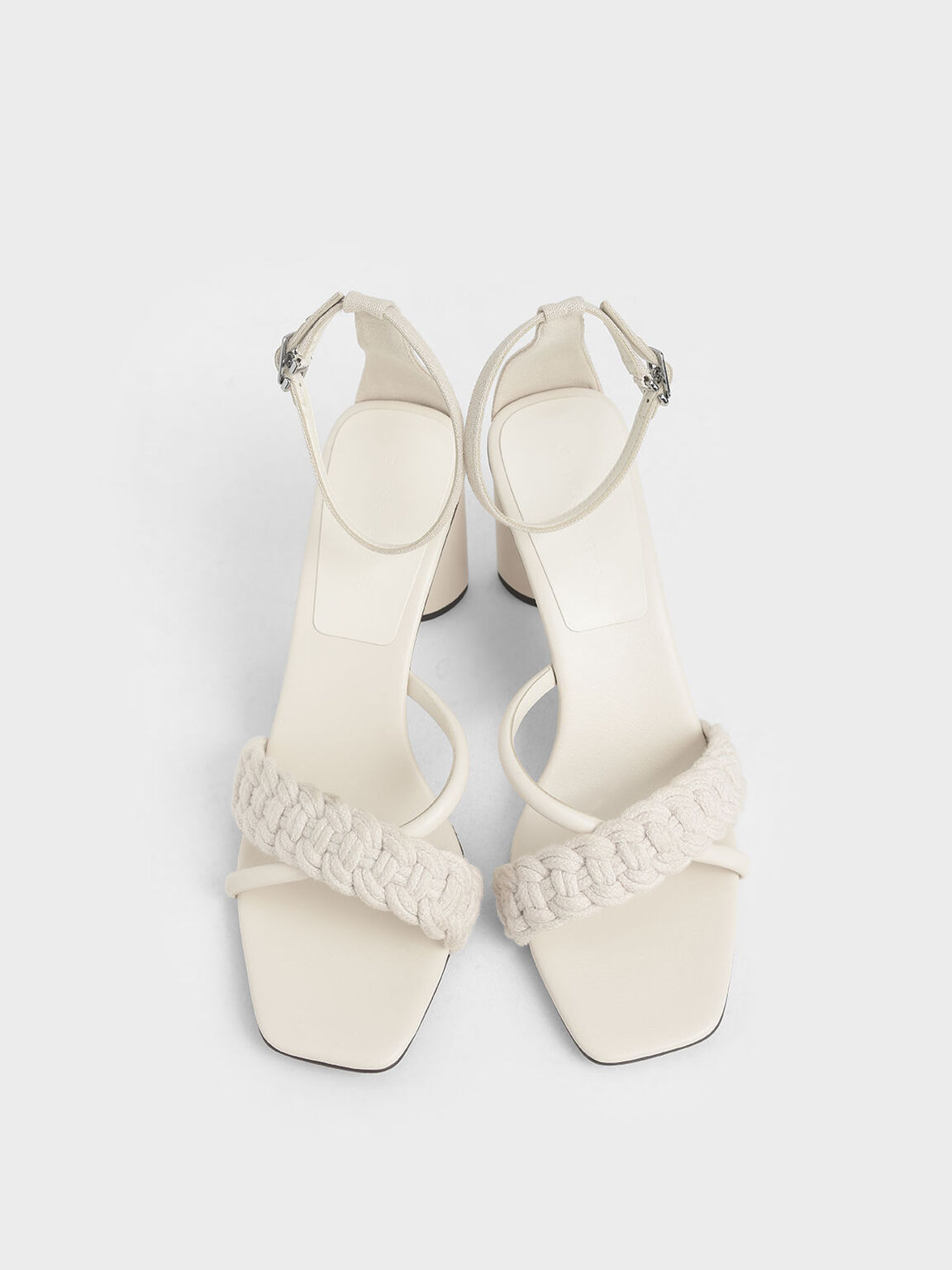 Rope Cylindrical Heeled Sandals, Chalk, hi-res