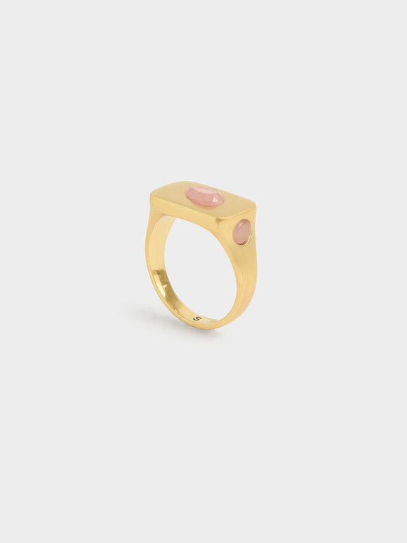 Rose Quartz Signet Ring, Brush Gold, hi-res