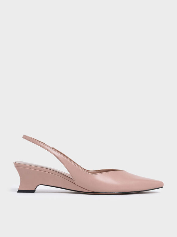 V-Cut Low Sculptural Heel Slingback Pumps, Nude, hi-res