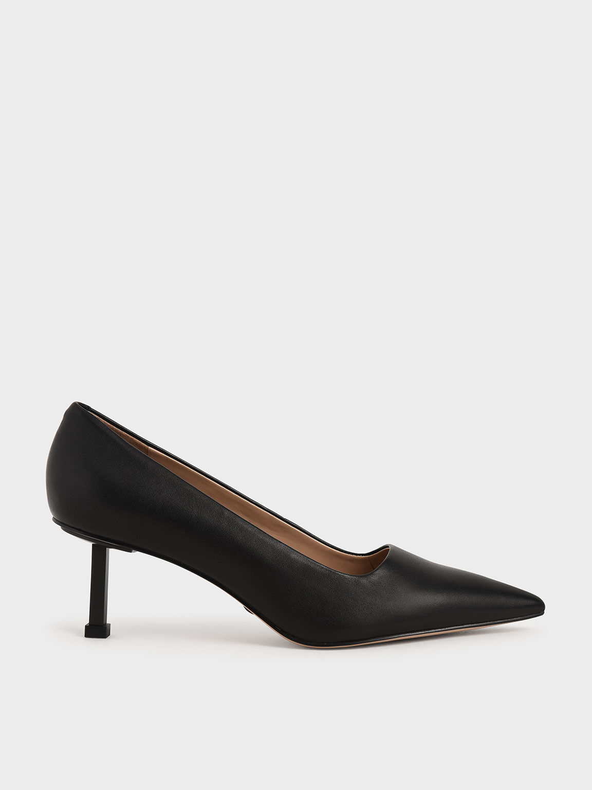 Leather Kitten Heel Court Shoes, Black, hi-res